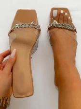 Square Toe Rhinestone Chain Flat Ladies Slippers