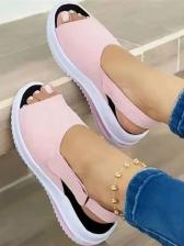 Peep Toe Color Block Sandals For Women
