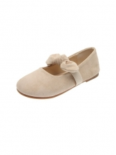 Round Toe Bow Tied Womens Flats