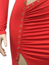 Hollow Out Sexy Irregular Solid Maxi Dress