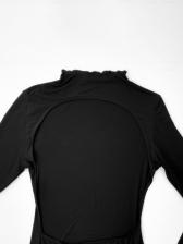 New Arrival Backless Long Sleeve Black Dress