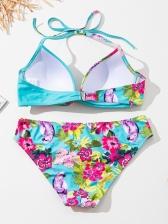 Sexy Leopard Contrast Color Print Bikini