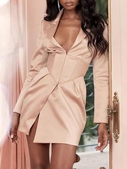 Deep V Neck Notch Collar Long Sleeve Blazer Dress