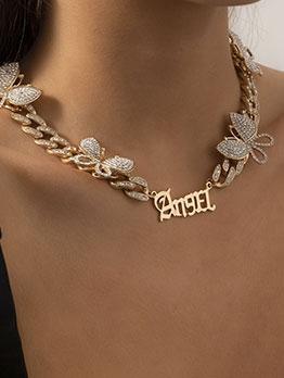 Full Rhinestone Butterfly Letter Necklace For Women