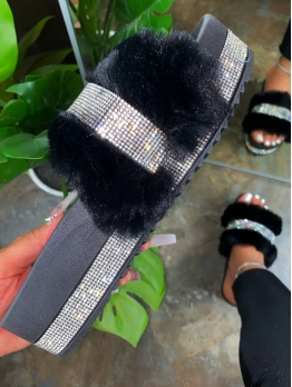 Rhinestone Faux Fur Beach Womens Slippers