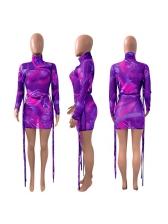 Gauze Novelty Printed Long Sleeve Bodycon Dress
