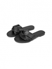 Simple Round Toe Black Womens Slippers