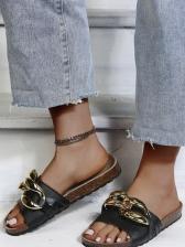 Metal Twisted Design Flat Ladies Slippers