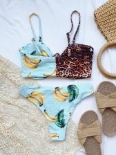 Leopard Print Patchwork Tank Bikini Sets Beach