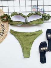 Solid Swimming Off Shoulder Women Bikini Sets