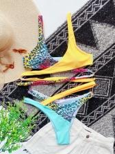 Contrast Color Beach V Neck Bikini Sets Swimwear