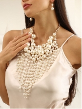 Street Snap Exaggeration Design Faux-Pearl Necklace