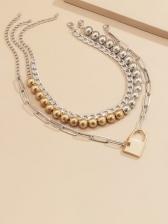 Street Hip Hop Lock Shape Layered Necklace