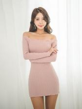 Off Shoulder Long Sleeve Skinny Knitted Dress