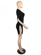 Sexy Hollow Out Tie Wrap Nightclub Long Sleeve Dress