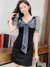 Vintage Bow Neck Puff Sleeve Dress