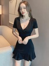 Sexy Deep V Neck Short Sleeve Dress