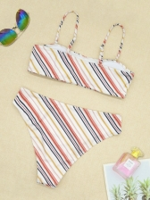 Contrast Color Striped High Waist Bikini