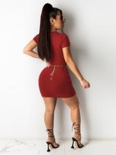 Sexy Letter Print Short Sleeve Short Dress