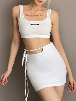 Cropped Tank Top And Skirt Sets White Women