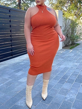 Plus Size Fitted Solid Sleeveless Dress For Women