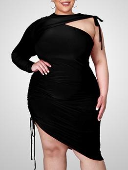 Sexy Solid Irregular One Shoulder Dress