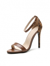 Euro Leopard Printed Heeled Sandals For Women