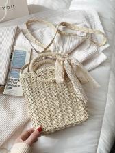 Weaving Fashion Straw Versatile Bucket Bag Cross-Body