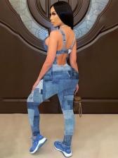 Fashion Camisole Backless Denim Sleeveless Jumpsuits