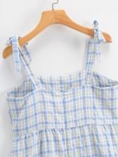 Summer Ruffle Plaid Sleeveless Mini Dress