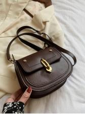 Fashion Solid Saddle Bag Shoulder Bags