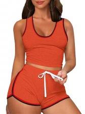 Exercise Contrast Color Two Piece Sport Sets