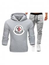 Letter Pattern Hooded Neck Long Sleeve Workout Wear