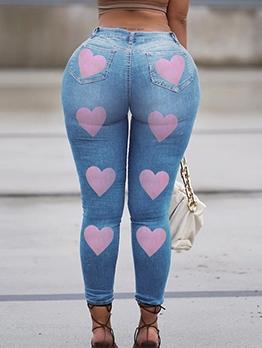 Heart Printed Fashion Women Jeans