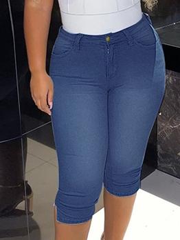 Stylish Pure Color Capri High Waisted Jeans