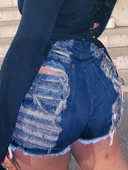 Euro Solid Distressed Denim Shorts