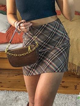 Vintage Plaid High Waisted A Line Skirt
