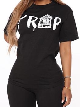 Letter Print Crew Neck Short Sleeve T-Shirt