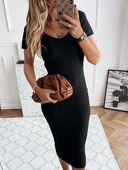 V Neck Fitted Black Short Sleeve Bodycon Dress