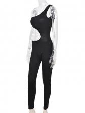 Inclined Shoulder Solid Cutout Black Jumpsuit