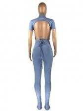 Casual Drawstring Solid 2 Piece Pants Set