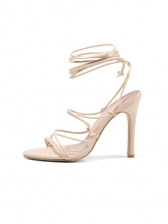 Roman Style Solid Lace Up Heel Sandal