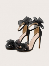 Lace Bow Round Toe Heel Sandals For Women