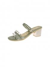 Versatile Rivets Chunky Heel Sandals For Women