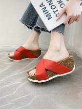 Round Toe Slip On Womens Wedge Slippers