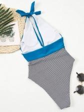 Sexy Striped Backless One Pieces Swimwear Women