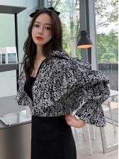 Spring Korean Style Puff Shoulder Women Short Coats