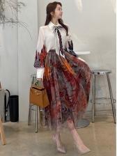 Latest Gauze Printed OL Style Work Skirt Sets