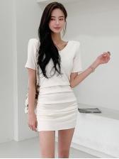 Solid Casual V Neck Short Sleeve Dress For Women