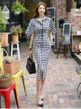 Button Fly Casual Plaid Stylish Short Sleeve Dress